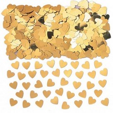 Gold Sparkle Hearts Confetti