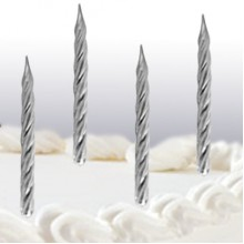 Silver Stripe Candles x12