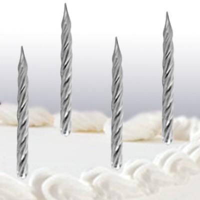 Silver Stripe Candles x12