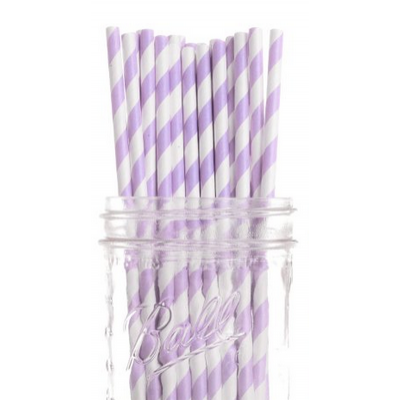 Paper Straws - Pastel Purple Stripes x25