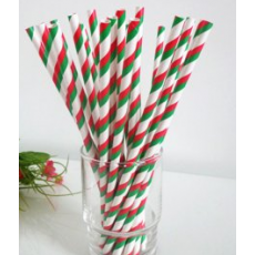 Paper Straws - Red & Green Stripes x25