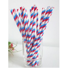 Paper Straws - Red and Blue Stripes x25