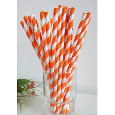Paper Straws - Orange stripes x25