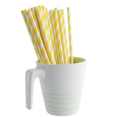 Paper Straws - Yellow Stripes x25