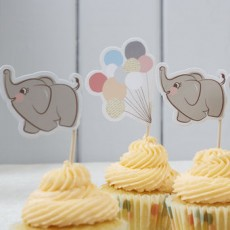 Baby Shower Cupcake Toppers - Baby Elephant Picks x10
