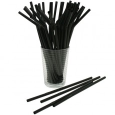 Plastic Flexible Straws (Black) x25