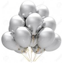 Balloons latex silver x10