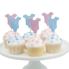 Baby Shower Cupcake Toppers - Little Man & Little x12