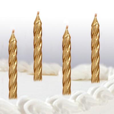 Gold Spiral Candles x12