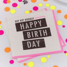 Neon Happy Birthday Napkins x20