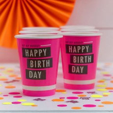 Neon Happy Birthday Cups x6