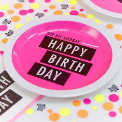 Neon Happy Birthday Paper Plates