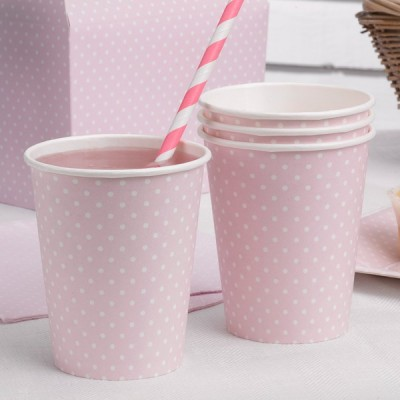 Paper Cups - pink and white polka dot x8