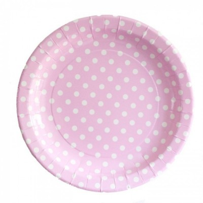 Paper Plates - pink and white polka dot
