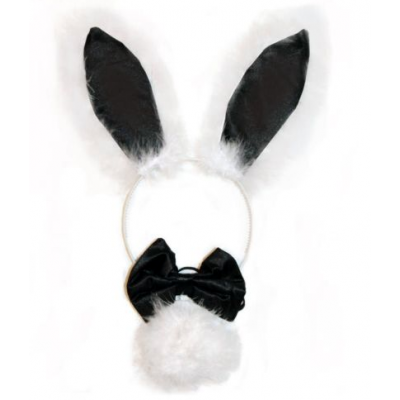 Furry Bunny Set -black  (ear, bowtie and tail)