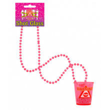 Shot Glass Necklace 'Warning Hen Party' (Pink)