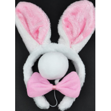 Bunny Rabbit Set - Pink  (headband, bowtie and tail)