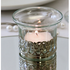 Glass Tealight Candle Holder with Metal Decoration