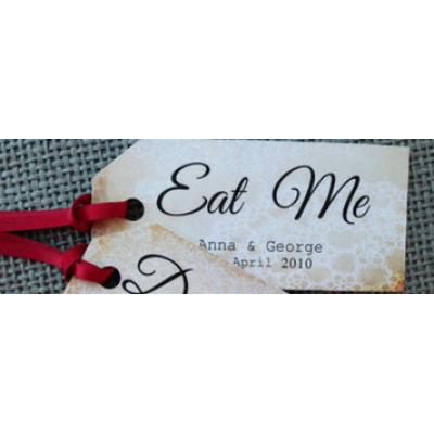 'Eat Me' shabby chic tags x3