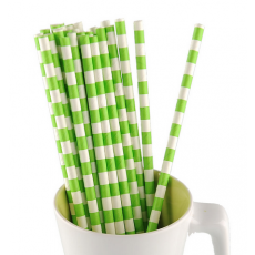 Paper Straws - green stripes x25
