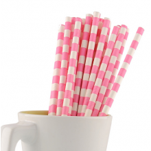 Paper Straws - Pink Stripes x25