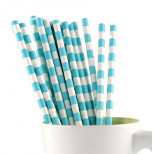 Paper Straws - Sky Blue Stripes x25