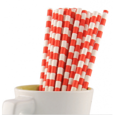 Paper Straws - Red Stripes x25