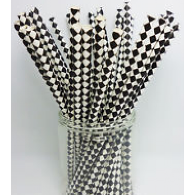 Paper Straws -  Black Rhombus Diamond x25