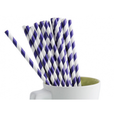 Paper Straws - Purple Stripes x25
