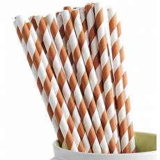 Paper Straws - Coffee Stripes x25