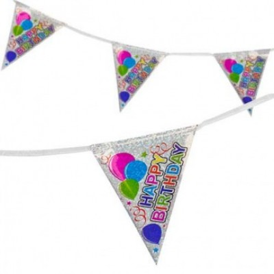 Happy Birthday Silver Holographic Bunting