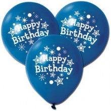 Blue Happy Birthday Balloons X5