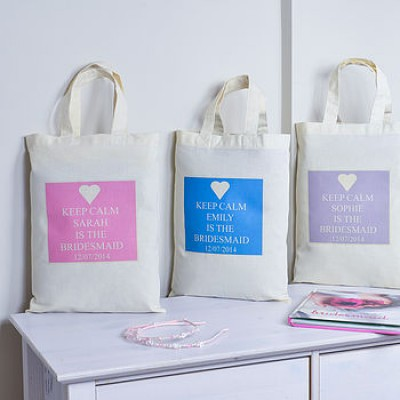 Personalised Keep calm bridesmaid bag