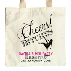 Personalised Cheers Bitches hen night bag