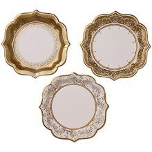 Gold Porcelain Paper Plates, Pack of 6