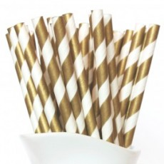 Paper Straws - Gold Stripes X 25