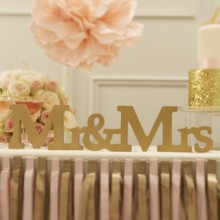 Mr & Mrs Wooden Gold Sign