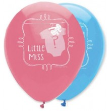 Baby Shower Balloons 'LITTLE MAN & LITTLE MISS' X6
