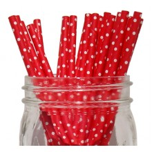 Paper Straws - Red small Polka Dot x25