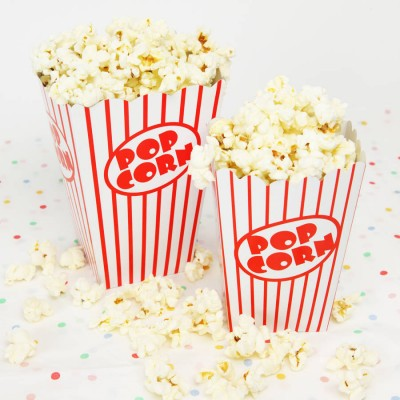 Retro Popcorn Party Boxes x8