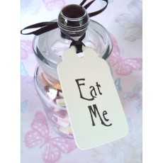 "'Eat Me"" vintage chic tags x4"