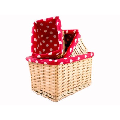 Wicker Basket - Red&White Lining